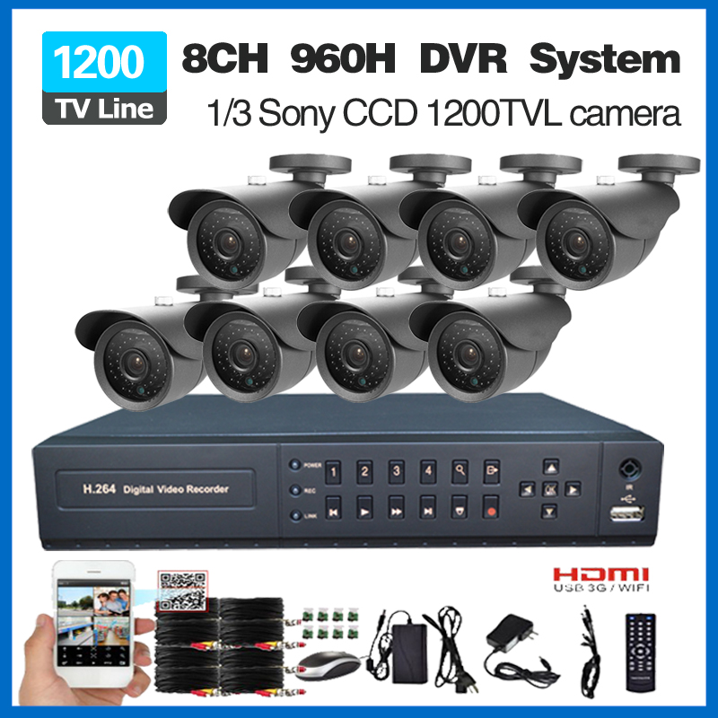 SecuVision HD 8CH CCTV DVR System 8pcs Sony 1200TVL IR cut Outdoor Video Surveillance Security Camera set 8 channel DVR Kit<br><br>Aliexpress