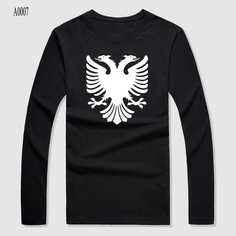 Fashion high quality unique albania eagle print cotton t for Retro long sleeve t shirts