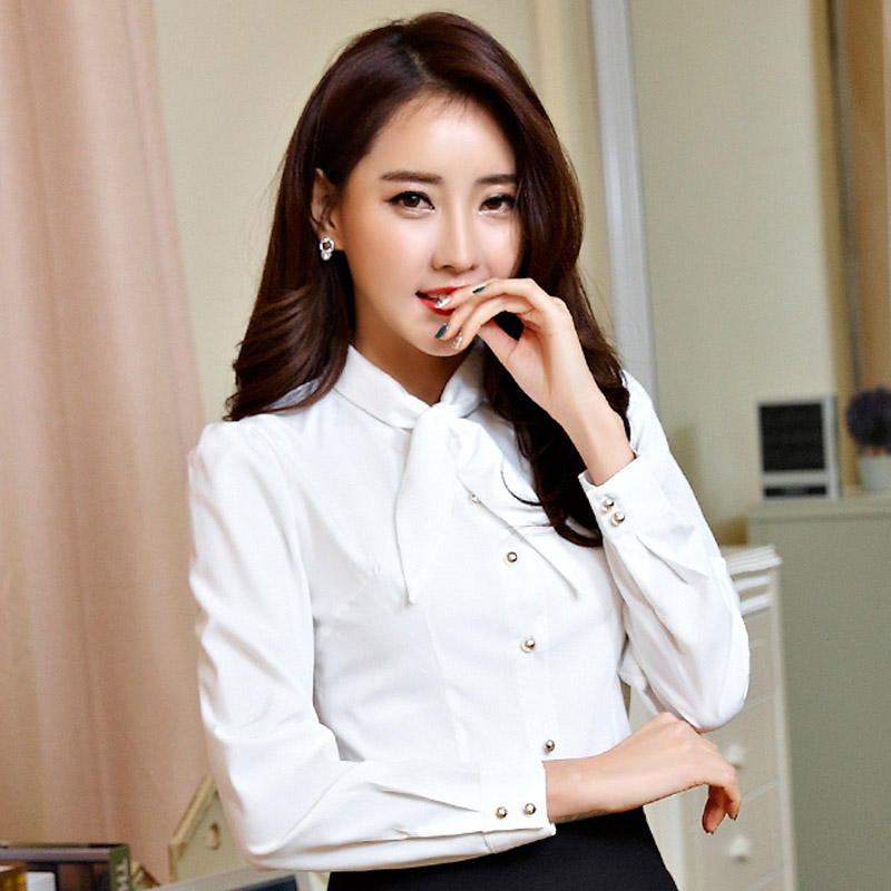Korean Lady Fashion Career Blouses Size S-2XL Bow Collar OL Style Chiffon Formal Wear Women Casual White Shirts - Natural Beauty Clothing store