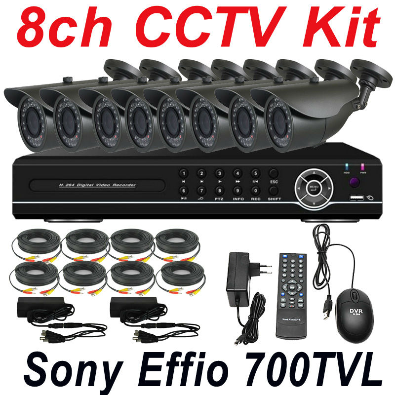 Free shipping 8ch cctv kit whole set cctv security system install surveillance monitor thermal hd camera 8ch DVR video recorder(China (Mainland))