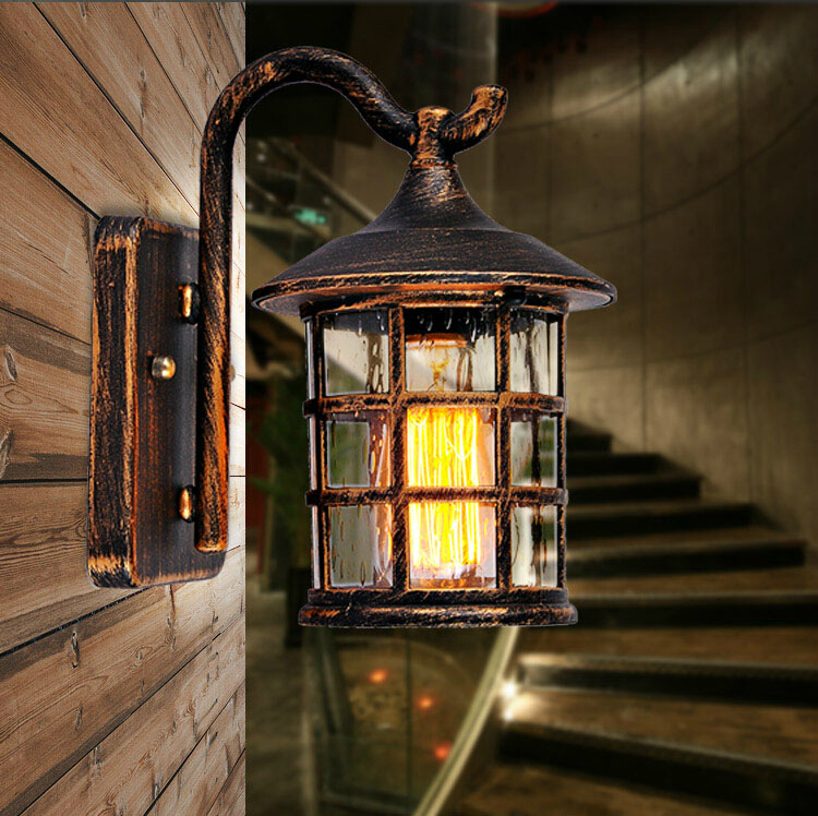Black Rustic Wall Lights : Aliexpress.com : Buy Retro Rustic Iron Waterproof Outdoor Wall Lamps Vintage Wall Light Rusty ...