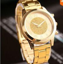 New Arrival 2016 Fashion luxury brand men Full steel watches Gold Clock women Geneva Quartz Watch Rhinestone wristwatches Reloj