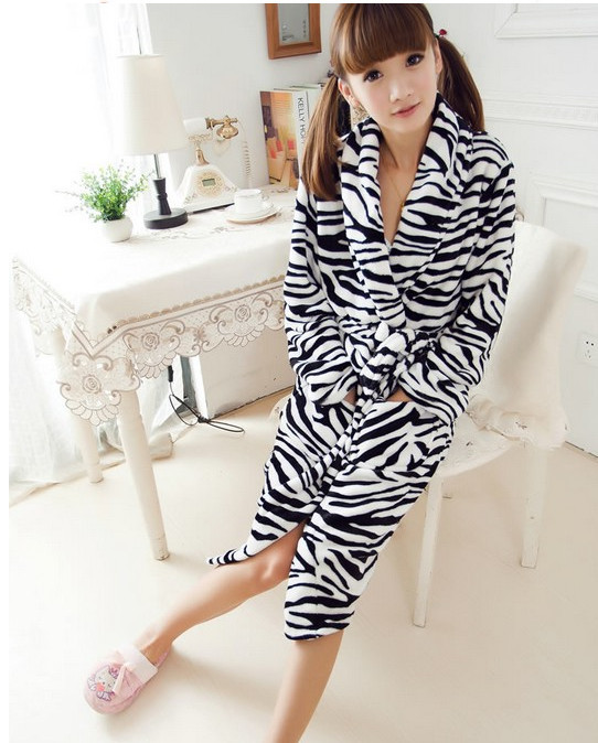 Animal New Leopard Flannel Bathrobe Fleece Long Plus Size Dressing Gowns Women Lady Spring Autumn Winter Bath Robe Pajama Robes - Cute Crazy store