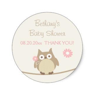 3.8cm Girl Owl Baby Shower Thank You Classic Round Sticker(China (Mainland))