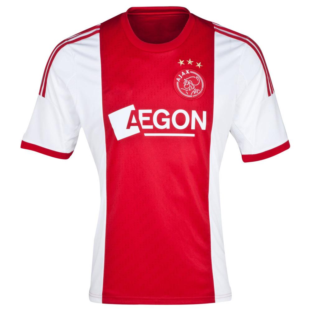 2014 Factory Price Embroidery Logo Ajax Home Soccer Jersey,100% Guaranteed Ajax 14/15 Football Shirt,Mix Order,Free Ship(China (Mainland))