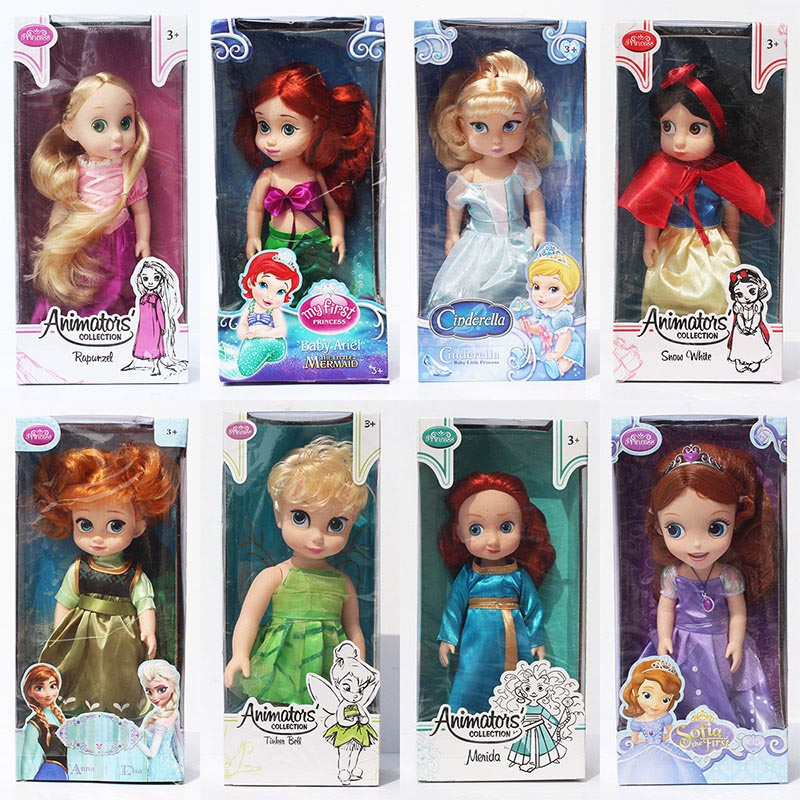 9 Styles Princess Doll 26~36cm Baby Princess Elsa Anna Snow white Tinker bell Cinderella Sofia Ariel Doll Model Toy Boneca Dolls(China (Mainland))