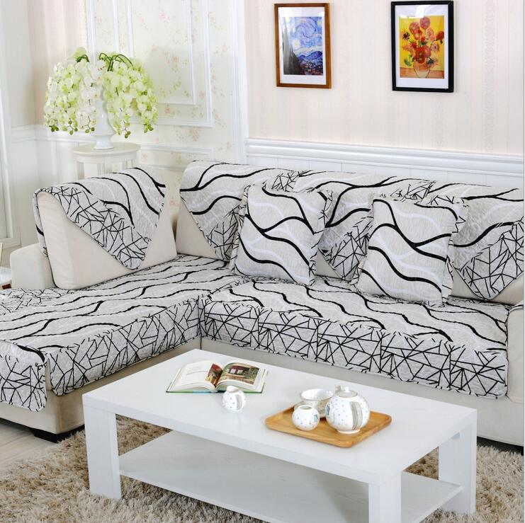 Grey Wave Printed Mordern Sofa Cover Polyester Fabric Cover For I Shape Sofa Slipcover L Shape Sectional Sofa Cover Sets Durable(China (Mainland))