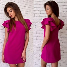 Buy 2017 Womens Summer Casual Style Butterfly Sleeve Dress Red Blue Yellow Sexy Backless Beach Mini Party Club Dresses Vestidos for $5.99 in AliExpress store