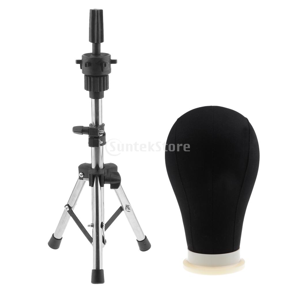 22inch Black Canvas Poly Block Professional Mannequin Manikin Head Model for Wig Make Display Style Dry with Tripod Clamp Stand