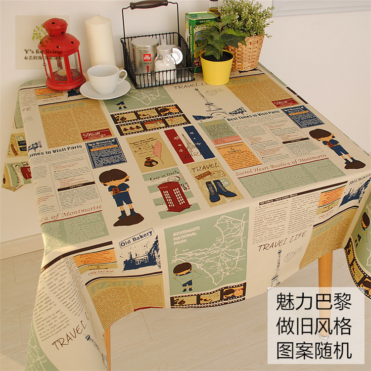 European Vintage Style Charming Paris 100% Cotton Tablecloth / table cloth for Dining Table Tea Towel Accept Customized 8 Sizes(China (Mainland))