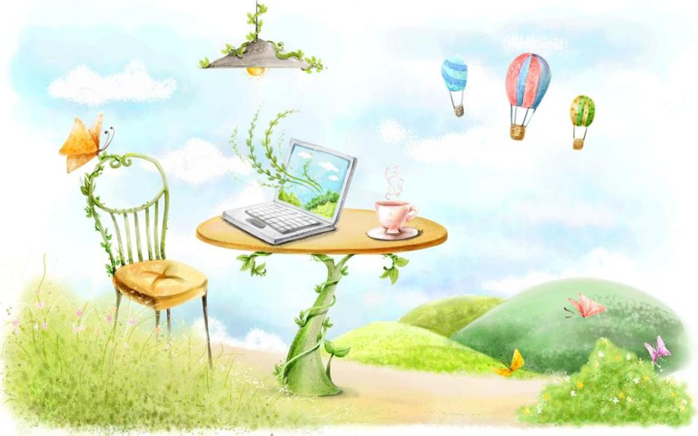 drawing table chair laptop lamp butterfly circle lianas balloons 4' Size Home Decoration Canvas Poster Print(China (Mainland))