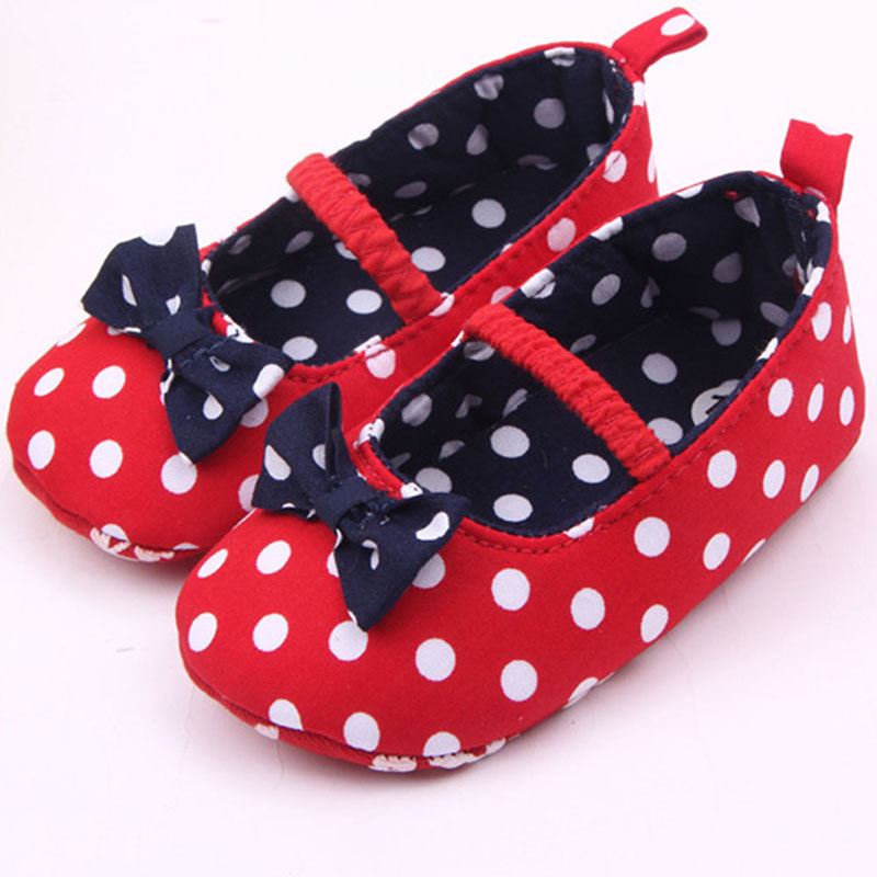 Baby Girl Soft Sole Shoes Dots Bowknot Toddler Anti-slip Shoes Newborn to New