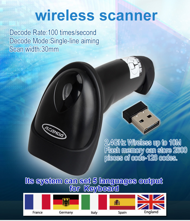 Free Shipping ALANDA Wireless Barcode Scanner bar Code Reader 2.4G 10m Laser Barcode Scanner Wireless/Wired For Windows CE(China (Mainland))