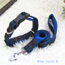 Pet Products Length 120cm High Quality Denim & Nylon Rope Dog Collars Leash,Cat Dog Pet Collar Traction Rope(China (Mainland))