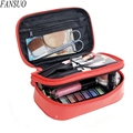 Hot Sell Lady Candy Colors Double Layer Toiletry Cosmetic Bag Women Travel Organizer Makeup Case Beauty