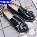 Lady Patent leather Vintage Flat Oxford Shoes Woman Flats 2017 Fashion tassel British style Brogue Oxfords