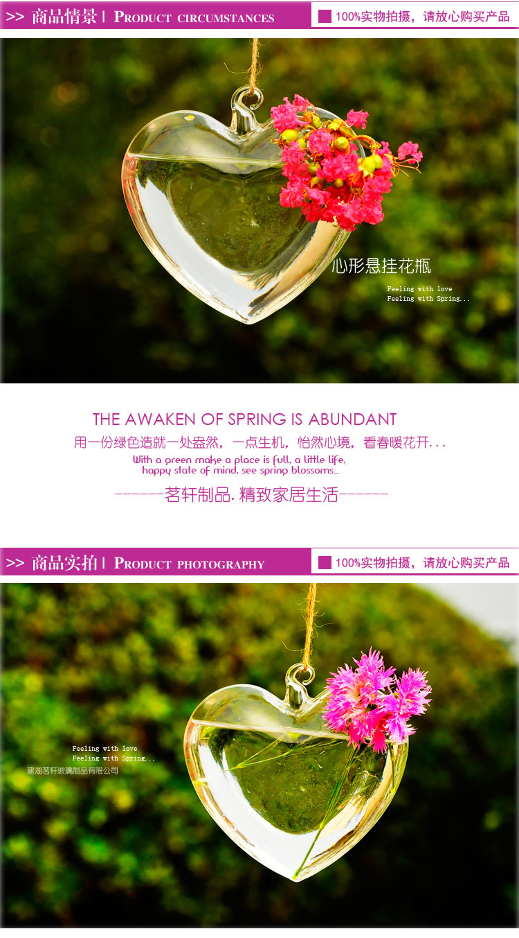 Hand made hanging heart shape Flower Glass Vase, creative home decoration, unique gift for your love(China (Mainland))