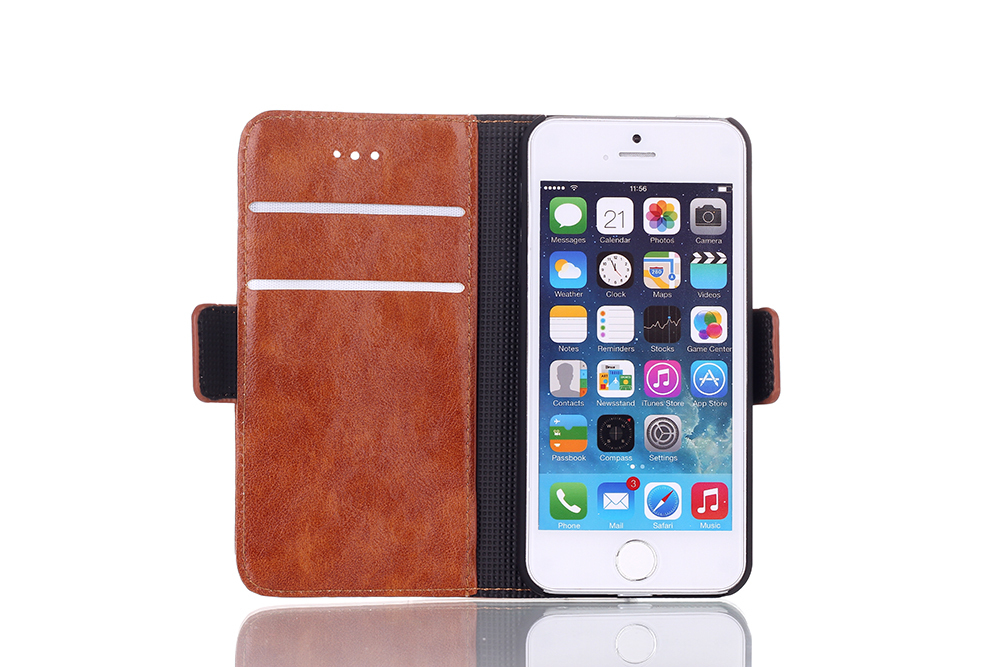 Flip Leather Cover Case iPhone 5S 5 Vintage Luxury PU Style Book Wallet Stand Covers Cases - Best Mall store
