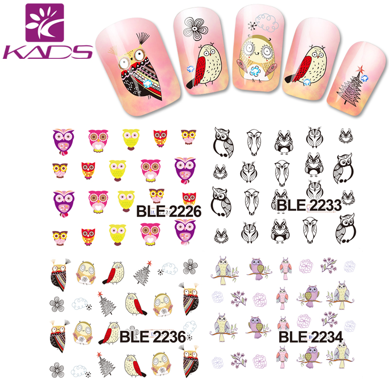 HotSale BLE2226-2236 Cute owl Cartoon Nail Sticker decal for nail water transfer cheap nail sticker decoration decal on nail(China (Mainland))