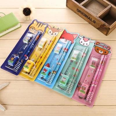 5 pcs/set Children stationery set Pencil Rubber Ruler pencil sharpener(China (Mainland))