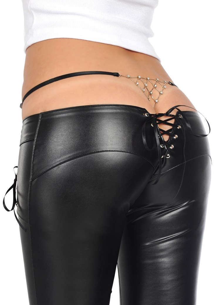Edgy Leather Pants Is Accented With Silver Hardware Zippers. 2 Zippers On The Right Upper Thigh, 1 Zipper On The Left Upper Thigh, 1 Zipper On The Right Knee, And 1 Zipper On The Lower Left Thigh. 2 Zippers On The Back Ankles.