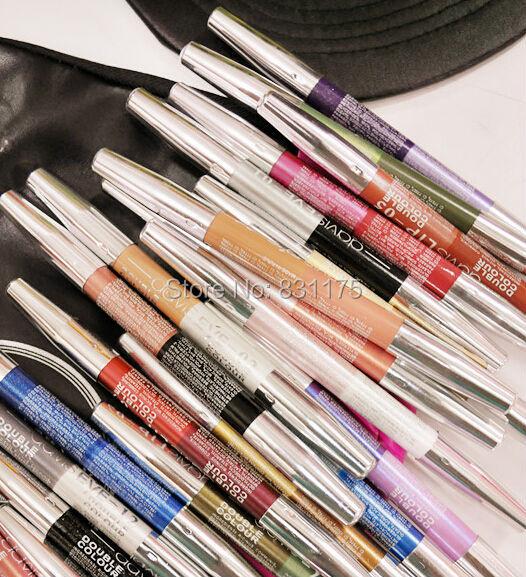 Hot sale waterproof black white eyeliner color eye pen makup pencil 12pcs/lot(China (Mainland))