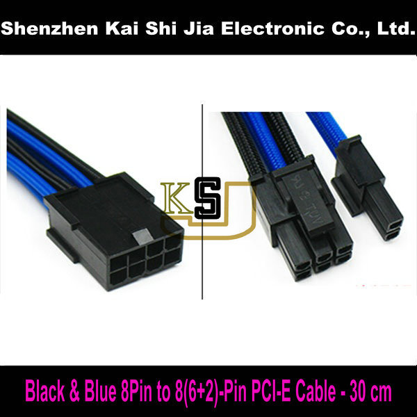 Black & Blue Premium Sleeved 8Pin to 6+2 Pin PCIe PCI-Express PC Power cable -30cm(China (Mainland))