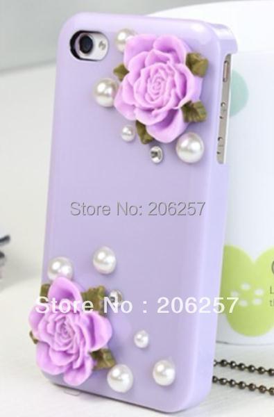 2014 hot! For iphone5 case Diamond Case Bling  Flower Back Cover 3D flower Rhinestones pearl Handmade Design