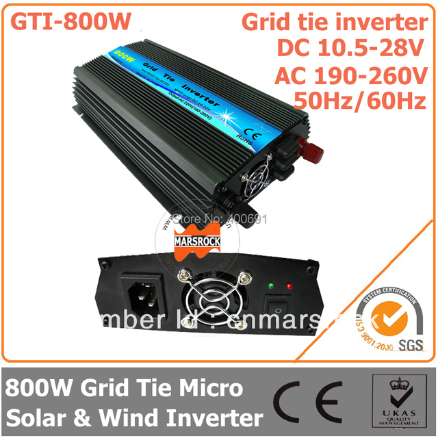 800W Grid Tie Micro Inverter, 10.5-28V DC to AC 190-260V Pure Sine Wave Inverter for 18V wind solar hybrid power system