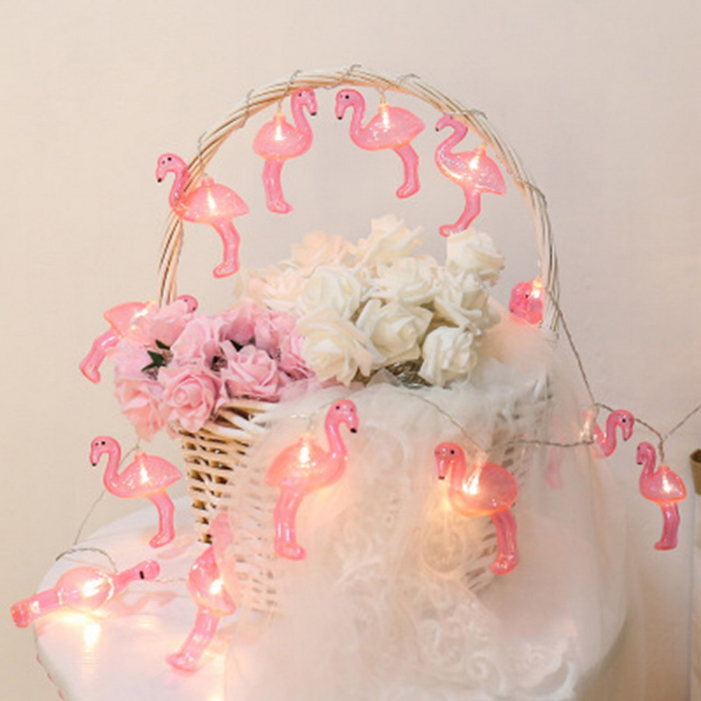 Mini Battery Powered 4m 40 Led Flamingo String Light For Baby Shower Emergency Lamp Protector Product Name Decoration 4 Meters Head Protection Class Ip43 Control Method Switch Beads Number Use 3 Aa