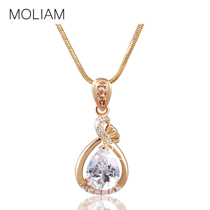 MOLIAM Fashion Women Necklace 18K Gold/White Gold Plated Slide Pendants Jewelry with Chain Gros Collier Femme 2016 P005,P006(China (Mainland))