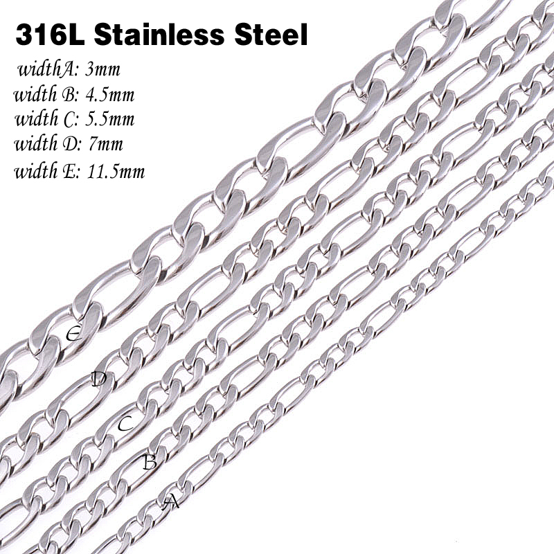 CUSTOMIZE SIZE 316L Stainless Steel Necklace chain Silver Color Figaro Chain Necklace Mens jewelry Christmas gift(China (Mainland))