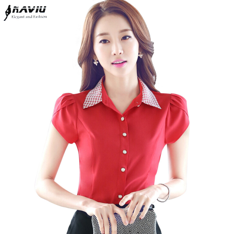 2016 New fashion female Short sleeve chiffon shirt elegant OL women's plus size blouse office ladies work wear formal red tops - LOVIU (Drop shipping store)