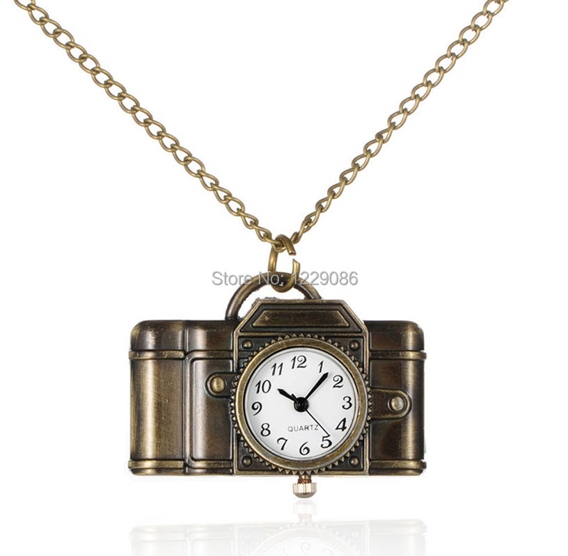 Pocket Watch Camera Pendant Necklace Alloy Quartz Iron Chains Lobster Claw Clasps, Antique Bronze, 31.7 inch - Pandahall shop store