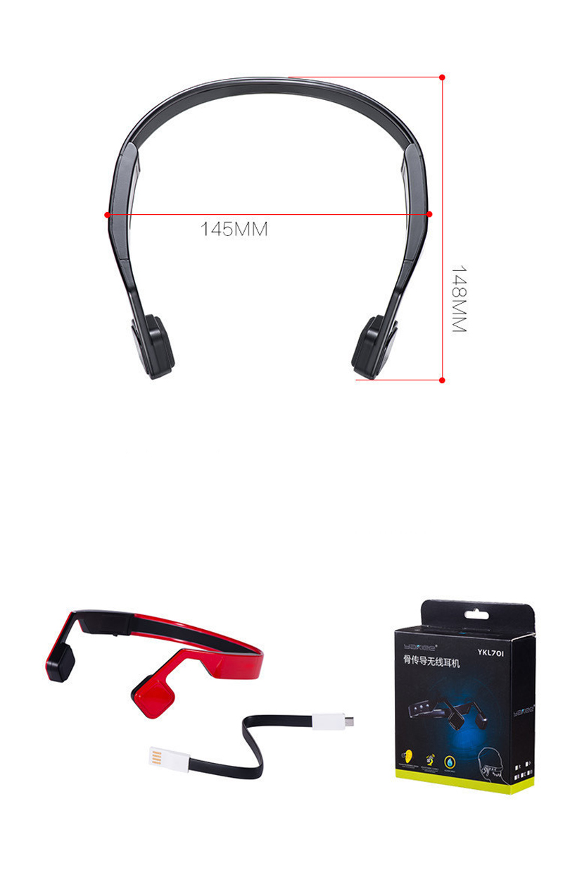 Bone Conduction Headphones Wireless Bluetooth 4.1 Neckband Headphone Stereo Noise Reduction Sport Headphones with Mic for Phone