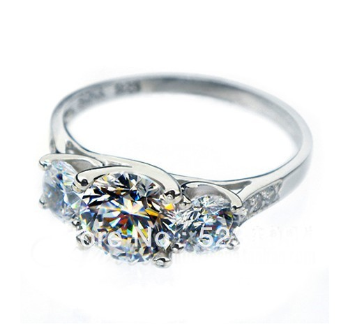 Amazing Desgin 1.7CT Three Stones Synthetic Diamond Female Marriage Ring Genuine Pure Silver Filled Cover With White Gold(China (Mainland))