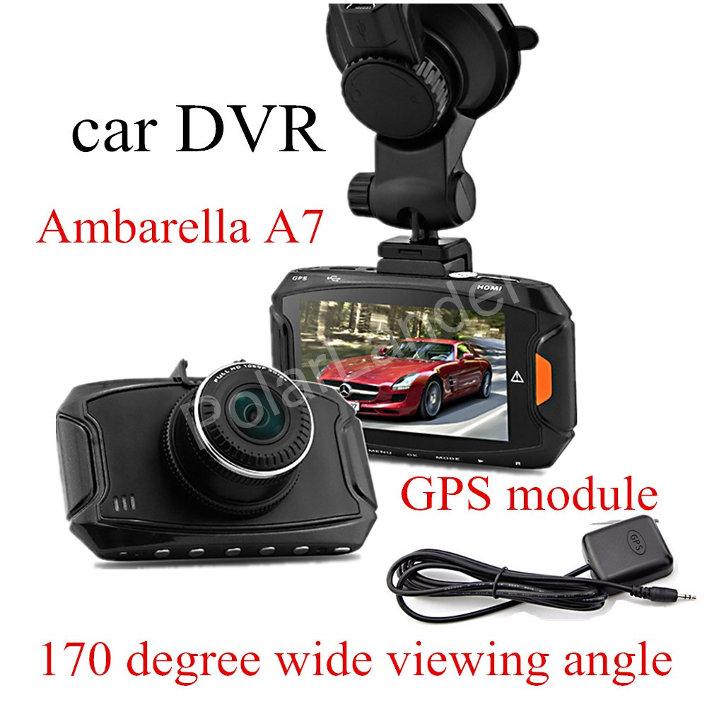 Фотография GS90 car DVR Ambarella A7 HD 2.7 inch Dash Camera 170 Degree wide viewing angle with GPS module auto recorder camcorder