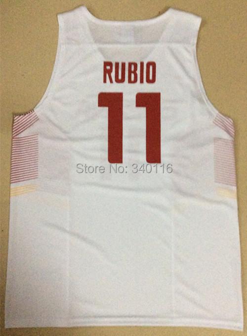 Free Shipping,2014 2014 Basketball World Cup/Spain basketball jersey #11 Rubio jersey Offset Quality(China (Mainland))