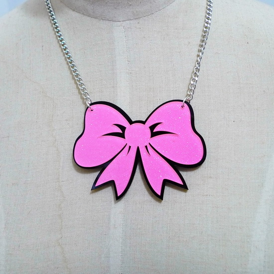 Hip Hop Pink Big Acrylic Bow knot Pendant Choker Necklace Female Night Club Jewelry Accessories(China (Mainland))