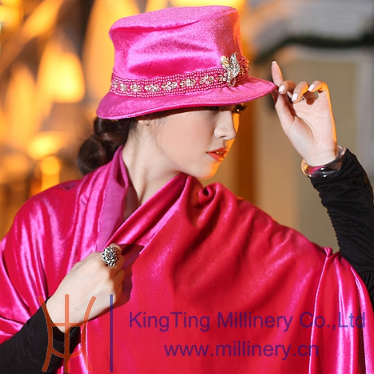 Fashion New Women Hat Winter Warm Velvet Trim Ribbons Flower Shawl - Hats Shop store