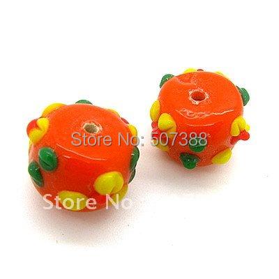 40pcs Orange Porcelain/Ceramic Beads Glass Loose Beads Fashion Jewelry Charms Free Shipping For Bracelet Making 16mm SJD013