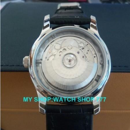 43 мм ПАРНИС 2016 новая мода синий циферблат Автоматическая Самостоятельно Ветер механические мужчины часы Высокого качества Механические часы