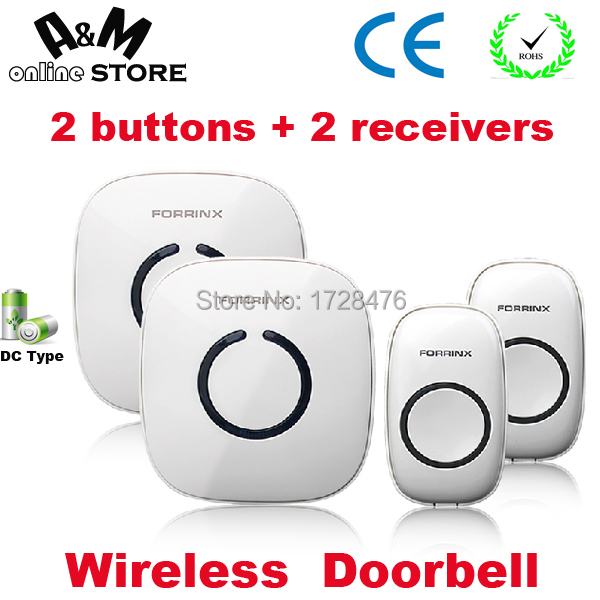 modern design DC batteries operated wireless doorbell / door bell chime Forrinx model FX-C 2 transmitters/buttons+2 receivers(China (Mainland))