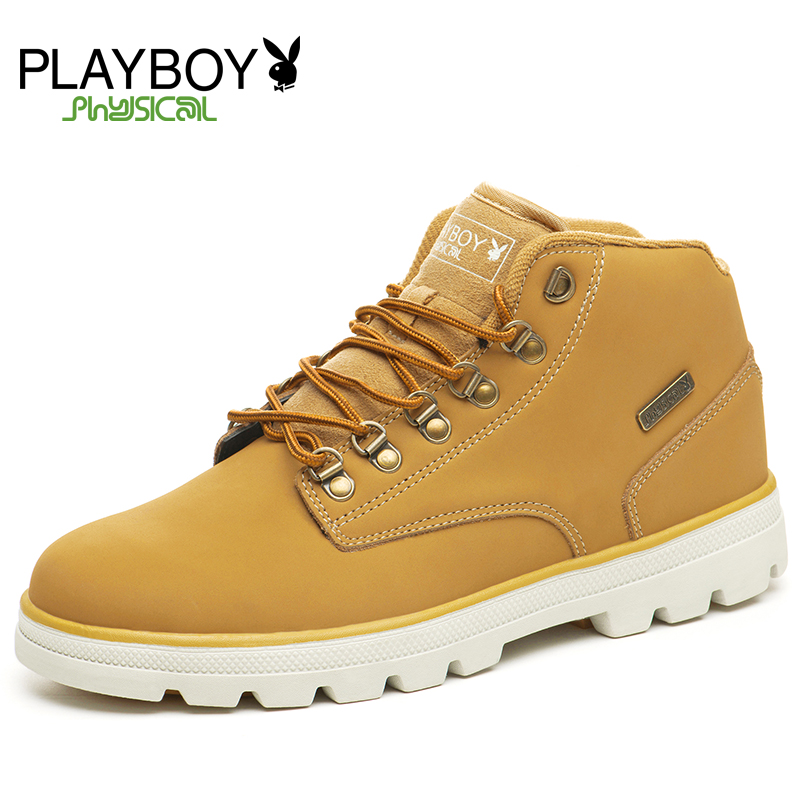 PLAYBOY Ankle Boots New Warm Winter Men Shoes Flats Lace-Up Plush Fur Outdoor - Feng shang co., LTD store