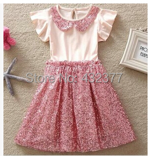 2016 new baby dress little girl blingbling floral children clothing toddler girls party dresses casual size 2t-8 - Fashion kids select store