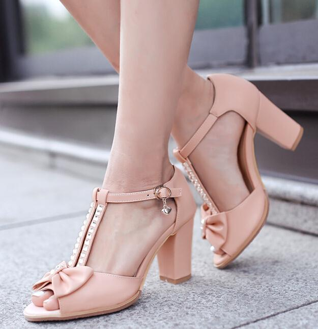 ENMAYER New fashion women Sandals buckle rhinestone ankle Sweet bow wedding shoes party summer buckle thin heels shoes Sandals<br><br>Aliexpress