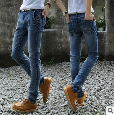 2015 men's Popular youth fashion jeans men feet blue male man Slim leisure pants long waist yl080 - dingding trading store
