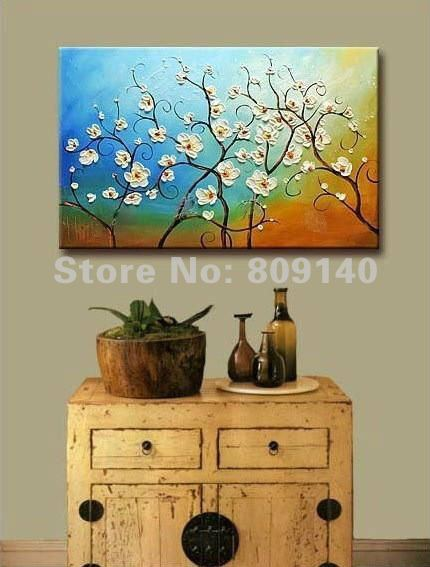 Elegant Wall Art For Living Room : Free shipping painting oil abstract flower