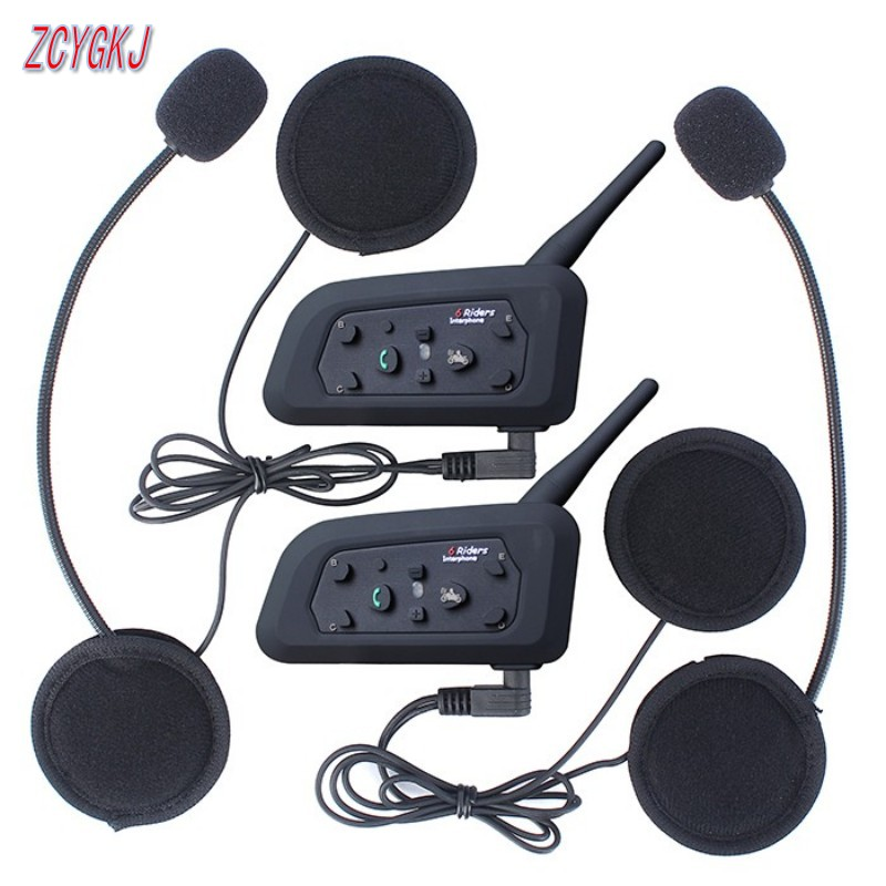 2 pcs V6 Helmet Intercom 6 Riders 1200M Motorcycle Bluetooth Intercom Headset walkie talkie Helmet BT Interphone(China (Mainland))