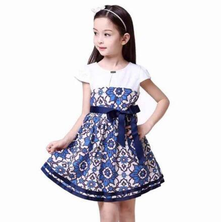 Girls Summer Dresses 2016 Wholesale European Brand Children Fashion Flower Print Clothes Kids Cotton Casual Clothing 6pcs/LOT<br><br>Aliexpress